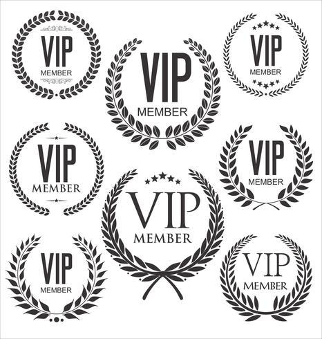 VIP-Mitglied schwarze Abzeichensammlung vektor