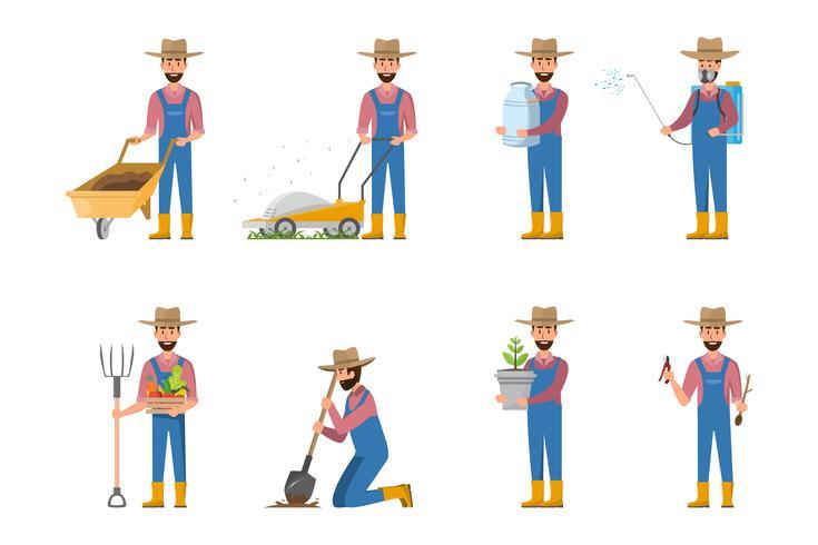 glücklich Bauer Cartoon in vielen Zeichen festgelegt vektor