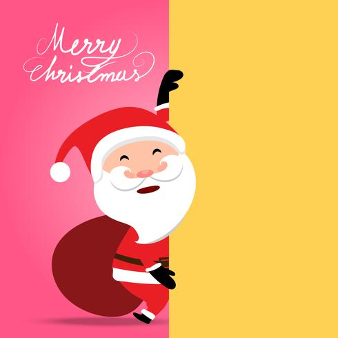 Weihnachten auf weichem rosa Hintergrund, Santa Claus, die gelbe leere Anschlagtafel zeigt, kann Ihre Arbeit darstellen vektor