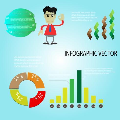 Infografik mit Geschäftsmann zum Erfolg vektor