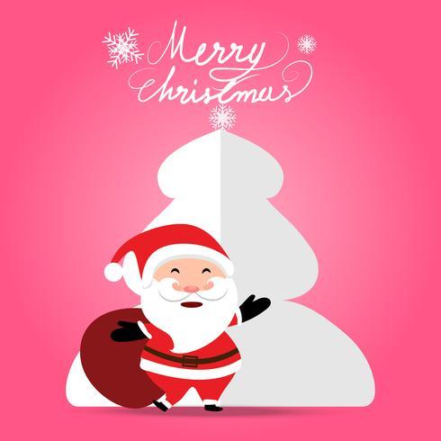 Weihnachtshintergrund mit Santa Claus, die Geschenkbeutel auf weichem Pastellrosafarbhintergrund anhält vektor