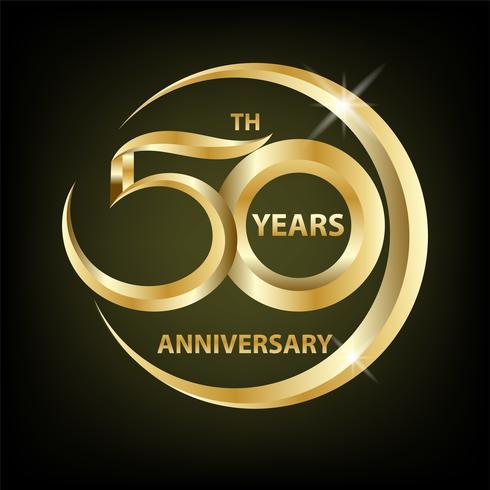 gyllene 50-årsjubileum vektor