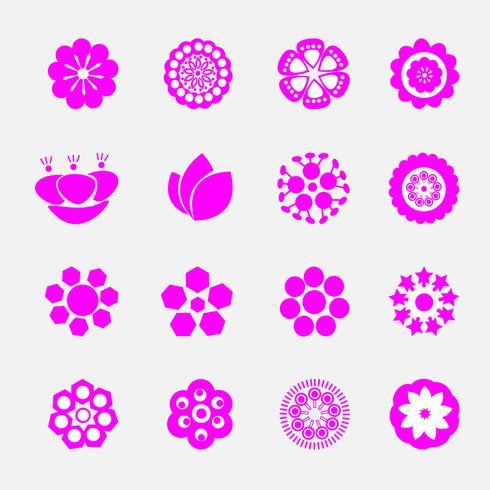 Satz des rosa blühenden Blumenvektors vektor