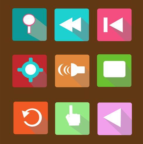 Moderne flache Ikonen vector Sammlung mit langem Schatteneffekt in den stilvollen Farben von Webdesigngegenständen, von Geschäft, von Büro und von Marketing-Einzelteilen.