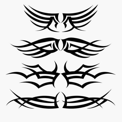 Muster des Stammes- Tätowierungssatzes. Konzept in der Gotik mit Flügel und Fliege vektor
