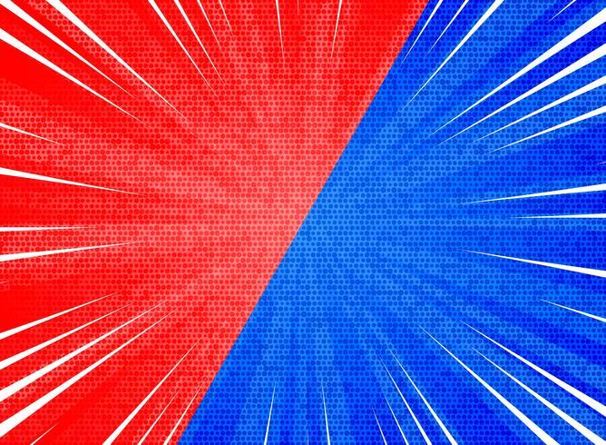 Abstrakte Sonne sprengte roten blauen Farbhintergrund des Kontrastes. Abbildung Vektor eps10