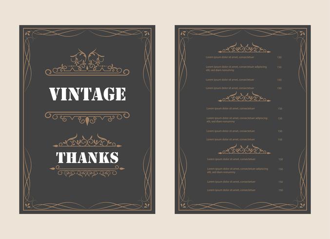 Weinlese-Verzierungs-Gruß-Karten-Vektor-Schablone und Retro- Einladungsdesignhintergrund, können für Hochzeitsflourishes-Verzierungsrahmen benutzt werden. A4-Designseite vektor