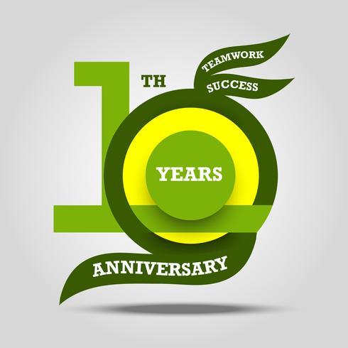 10-jähriges Jubiläum Zeichen und Logo Feier vektor