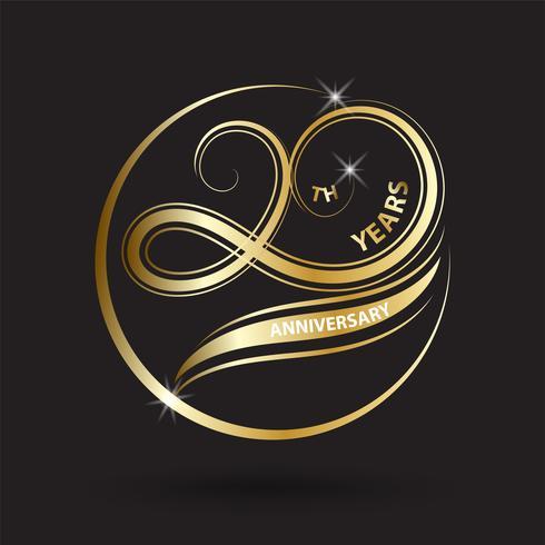 goldenes Logo und Zeichen des 20. Jahrestages, goldenes Feiersymbol vektor