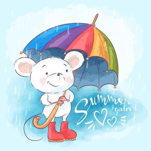 Nette Karikaturmaus der Illustrationspostkarte mit Regenschirm. Drucken Sie für Kleidung oder Kinderzimmer vektor