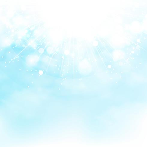 Blauer Himmel des Sonnenexplosionsdekorations-Sommerhintergrundes. Abbildung Vektor eps10