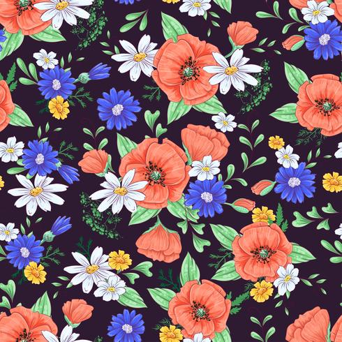 Nahtloses Muster der roten Mohnblumen und der Gänseblümchen. Handzeichnung. Vektor-illustration vektor