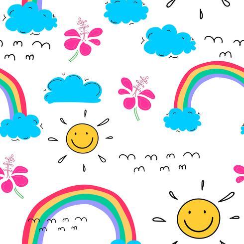Sommermusterhintergrund mit Wolken und Sonne, Hand gezeichnetes tropisches Muster, Vektorillustration. vektor