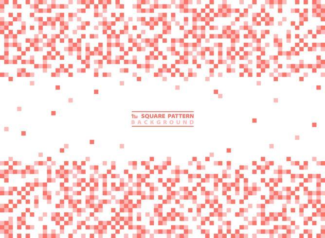 Modernt kvadratmönster av levande korallfärgdekoration på vit bakgrund. illustration vektor eps10