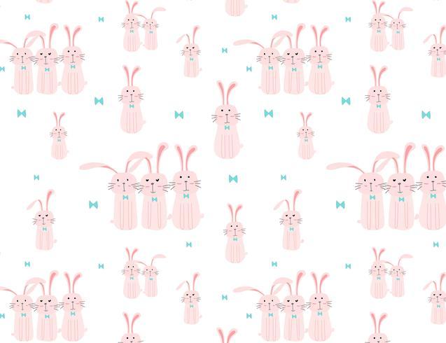 Söt kaninmönster bakgrund, påskmönster för barn, Vektor illustration.