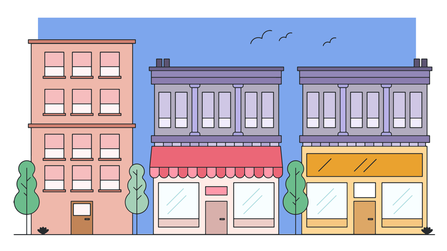stadsdel butik vektor