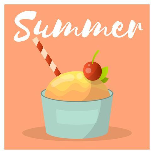 Ice Cream Scoop Med Körsbär vektor