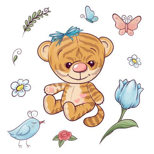 Stellen Sie einen kleinen Tiger mit einem Ballon ein. Handzeichnung vektor