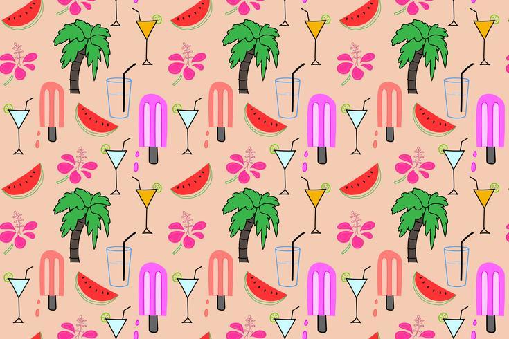 Sommermusterhintergrund, tropisches Flamingomuster, Vektorillustration. vektor