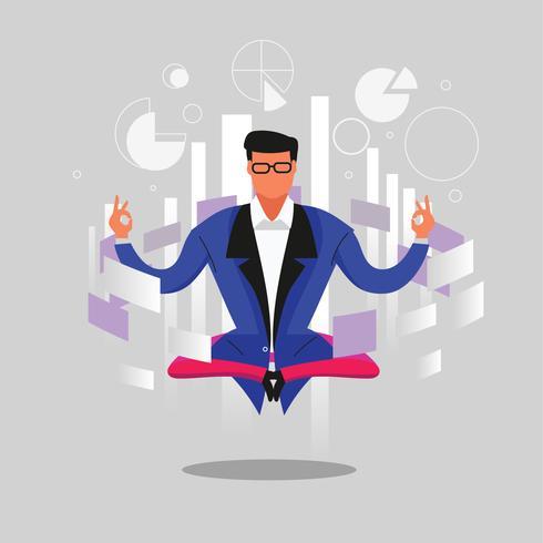 Affärsman Tänk och få idéer till framgång Business under meditation vektor