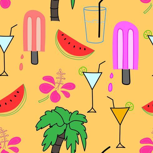 Sommermusterhintergrund, Hand gezeichnetes tropisches Muster, Vektorillustration. vektor