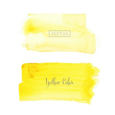 Gul pensel stroke akvarell på vit bakgrund. Vektor illustration.