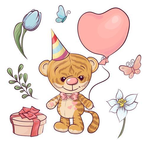 Sätt en liten tiger med en ballong. Handritning. Vektor illustration