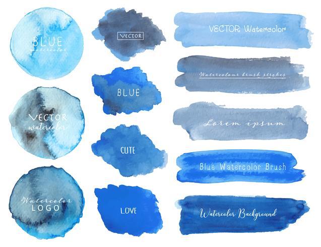 Satz blaues Aquarell auf weißem Hintergrund, Bürstenanschlagaquarell, Vektorillustration. vektor