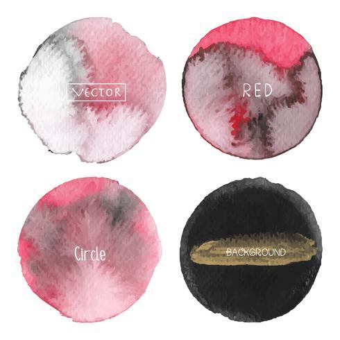 Röd akvarell cirkel sätta på vit bakgrund, Akvarell logotyp, Vektor illustration.