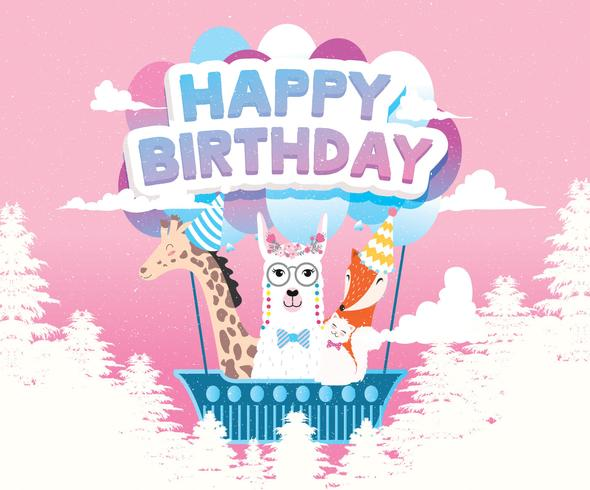 Grattis på födelsedagen djurens hälsningskort vektor