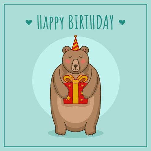 Födelsedag med björnvektor vektor
