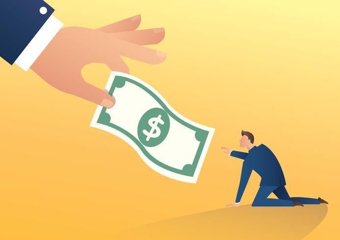 große menschliche Hand gibt der Geschäftsmannvektorillustration Geld vektor