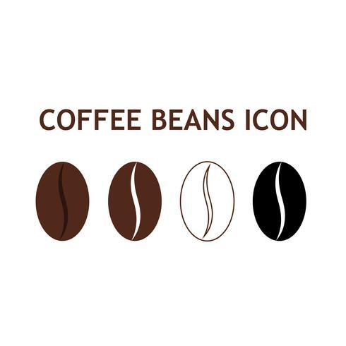 Samling av kaffeböna ikon isolerad på vit bakgrund vektor