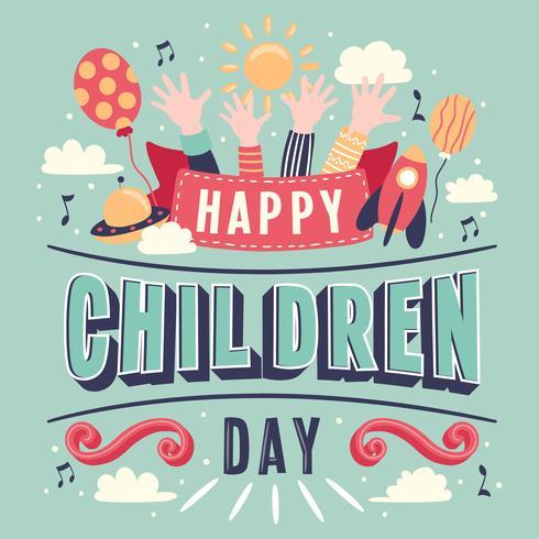 Kindertag Hand Schriftzug Vektor Hintergrund. Alles Gute zum Kindertag. Bunte Karte der glücklichen Kinder Tagesmit den Händen der Kinder steigt Sonne im Ballon auf - Vector Illustration