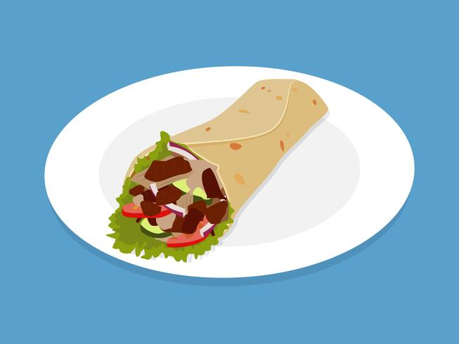 Kebab Doner eller Shawarma snabbmat på tallrik - Vektor illustration
