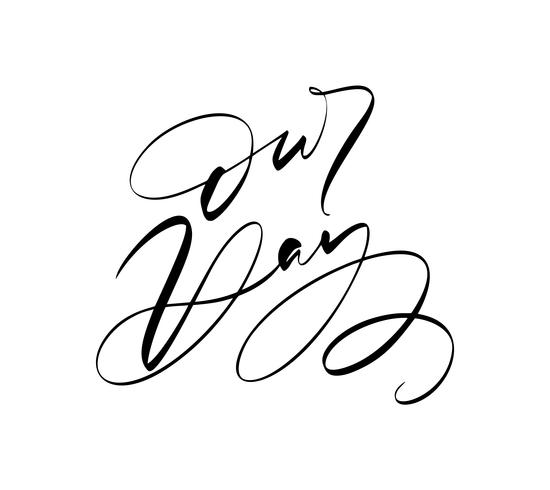 Vår dag vektor bokstäver Bröllop text på vit bakgrund. Handskrivna Dekorativa Designord i Curly Fonts. Stor design för ett hälsningskort eller ett tryck, romantisk stil