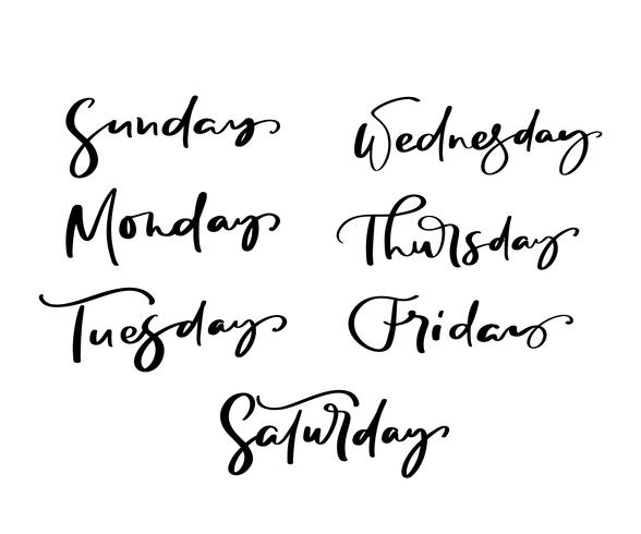 Übergeben Sie gezogene dekorative Beschriftung von Wochentagen mit verschiedenen Buchstaben herein lokalisiert auf weißem Hintergrund für Kalender, Planer, Tagebuch, Dekoration, Aufkleber, Plakat vektor