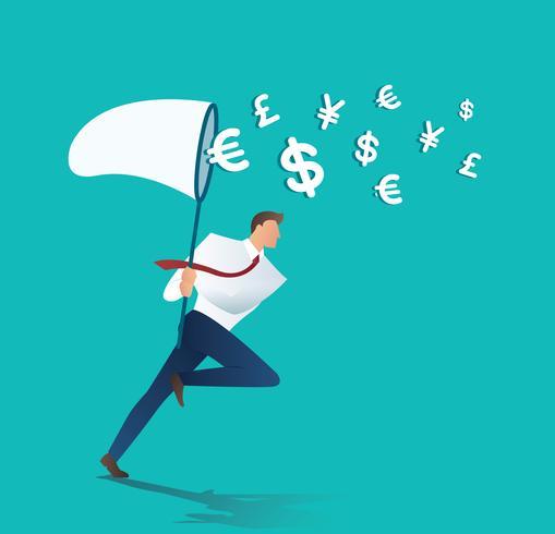 affärsman försöker fånga pengar affärsidé vektor