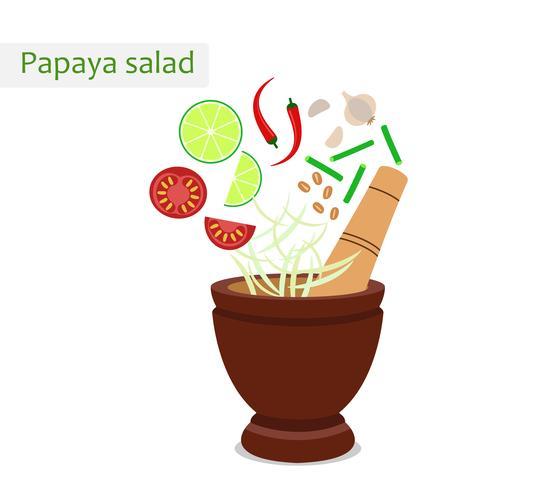 Papaya sallad (thailändsk mat) med murbruk och ingredienser - Vektor illustration