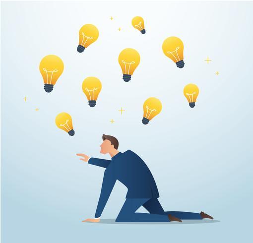 Geschäftsmann, der versucht, Glühlampe, Plagiat, Konzept der Kreativitätsvektorillustration zu fangen vektor