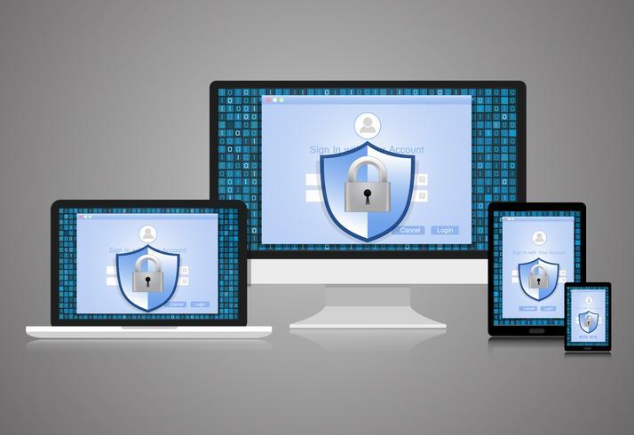 Konceptet är datasäkerhet. Sköld på dator, bärbar dator, Tablet och Smart Phone skyddar känsliga data. Internet säkerhet. Vektor illustration.