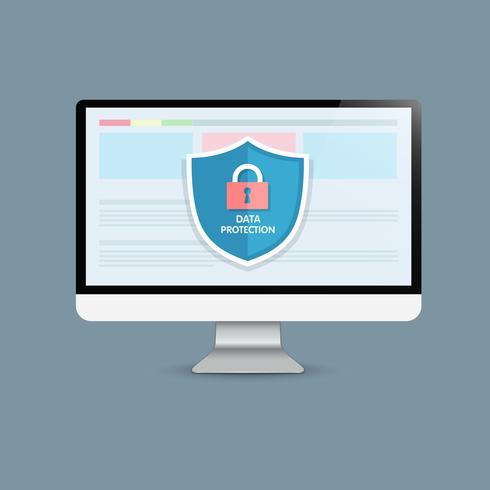 Concept är datasäkerhet Access .Shield on Computer Desktop skyddar känsliga data. Internet säkerhet. Vektor illustration.