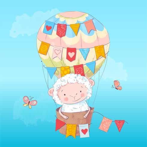 Affisch söt lamm i en ballong. Handritning. Vektor illustration av tecknad stil