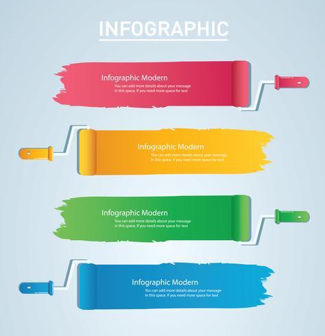 färgrulle med plats för textinfo grafisk vektormall med 4 alternativ. Kan användas för webb, diagram, diagram, presentation, diagram, rapport, steg för steg infographics vektor