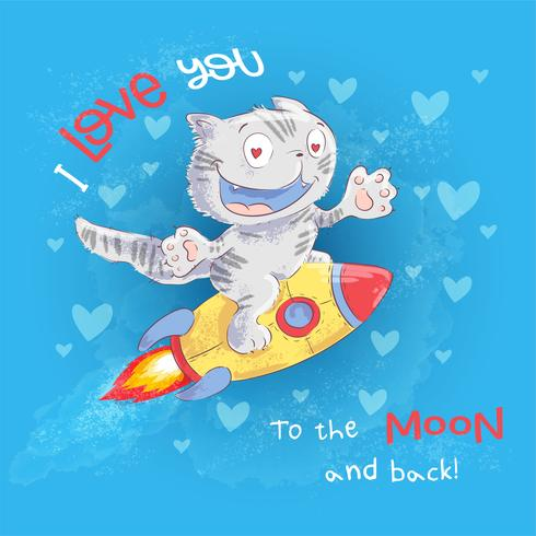 Poster süße Katze fliegt auf einer Rakete. Handzeichnung. Vektor-Illustration-Cartoon-Stil vektor