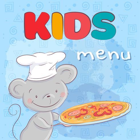 Affisch söt mus med pizza. Handritning. Vektor illustration tecknad stil