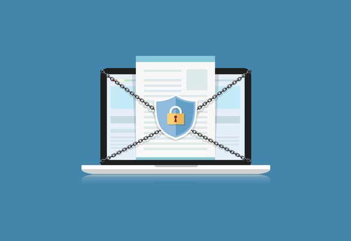 Konceptet är datasäkerhet. Sköld på Computer Labtop skyddar känsliga data. Internet säkerhet. Vektor illustration