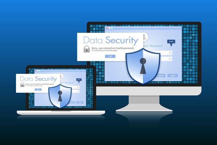 Konceptet är datasäkerhet. Sköld på datorns skrivbord eller labtop skyddar känsliga data. Internet säkerhet. Vektor illustration.