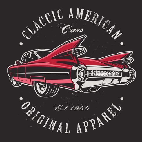Amerikansk bil på svart bakgrund. vektor