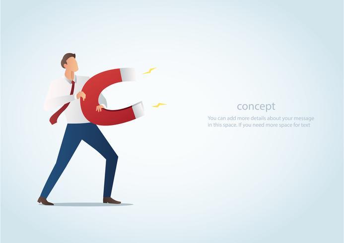 Infografik Business-Konzept der Geschäftsmann mit Magnet Vektor-Illustration anziehen vektor